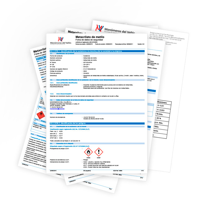 safety and specifications sheets